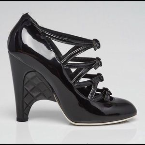 CHANEL Patent Buckle Leather Quilted Wedge Heels